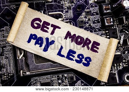 Hand Writing Text Caption Inspiration Showing Get More Pay Less. Business Concept For Budget Slogan