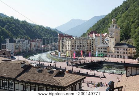 Sochi, Russia -14 August, 2014:views Of The Ski Resort Rosa Khutor With The Cable Car.  Here Were Al