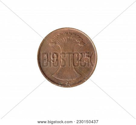 Obverse Of One Pfennig Coin Made By Germany 1925