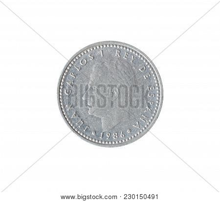 Obverse Of Vintage One Peseta Coin Made By Spain 1986