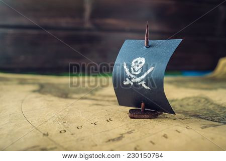 Toy Boat Pirate Flag Skull And Bones On The World Map Of The Playing Field Handmade Board Games