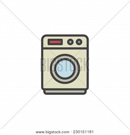 Washing Machine Filled Outline Icon, Line Vector Sign, Linear Colorful Pictogram Isolated On White.
