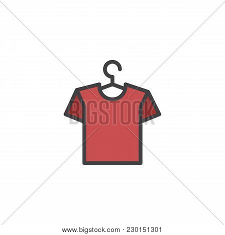 Hanger With Shirt Filled Outline Icon, Line Vector Sign, Linear Colorful Pictogram Isolated On White