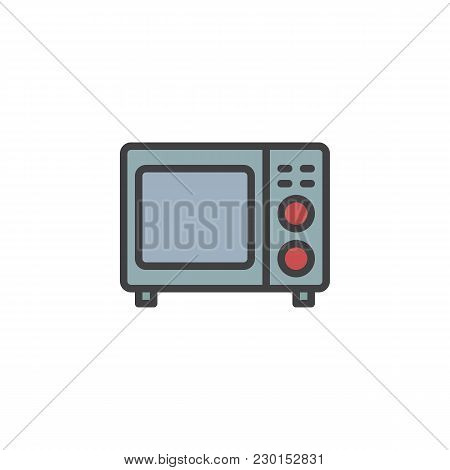 Microwave Oven Filled Outline Icon, Line Vector Sign, Linear Colorful Pictogram Isolated On White. K