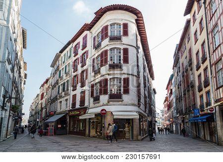 Bayonne, France - 02/23/2018: Corner Of Rue Port De Castets And Rue Victor Hugo Bayonne