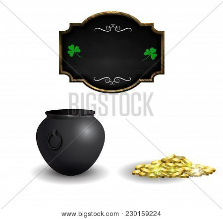 Set Of St Patricks Day Objects Cauldron Empty And Gold Blackboard Isolated On White Background