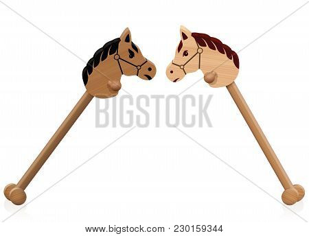 Hobby Horse Fight. Symbol For Problem Children, Educational Conflict Management, Social Interaction