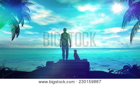 The Dark Silhouette Of A Lonely Man With A Dog Stands On The Shore Of The Ocean.