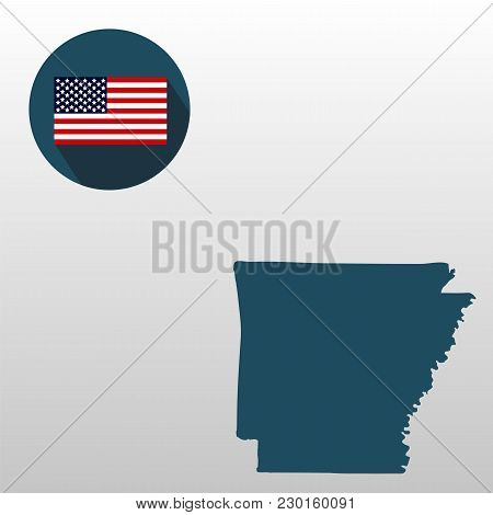 Map Of The U.s. State Of Arkansas On A White Background. American Flag.