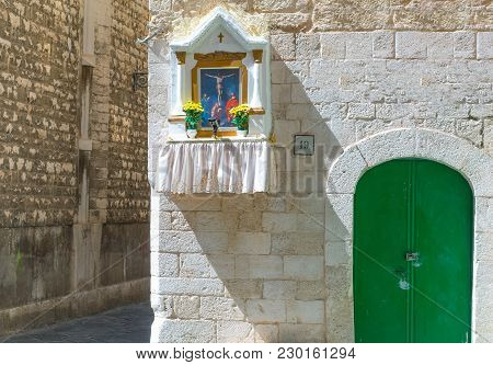 Bari, Italy - July 3, 2017:  Old Town, The Entrance With Tabernacle Of A Traditional House