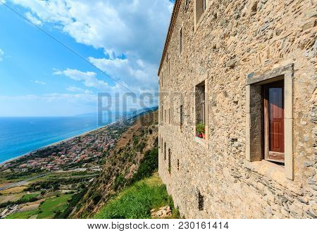 View To Sea Coast From Fiumefreddo Bruzio (one Of Italian Most Beautiful Villages, On Mountain Hill
