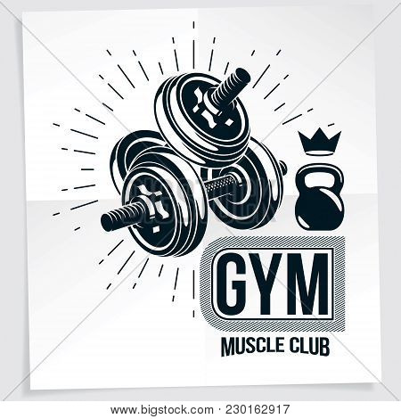 Sports Center Vector Advertising Poster Made Using Disc Weight Dumbbell And Kettle Bell Sport Fitnes