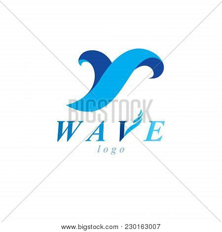 Ocean Freshness Theme Vector Symbol For Use In Mineral Water Advertising. Environment Protection Con
