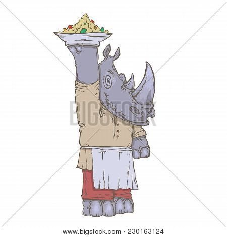 Vector Isolated Image Of The Character Of The Animal Cook. National Cuisine. Gastronomy.  Rhinoceros