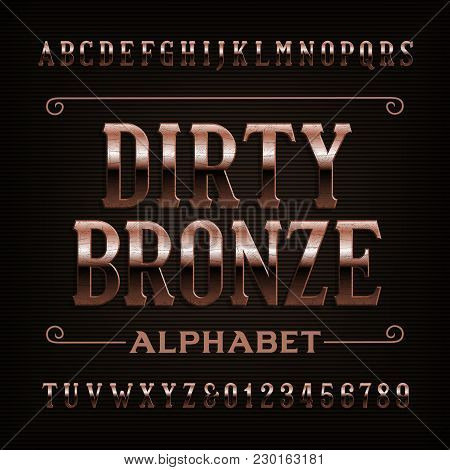 Vintage Dirty Bronze Alphabet Font. Scratched Letters And Numbers. Stock Vector Typeface For Your De