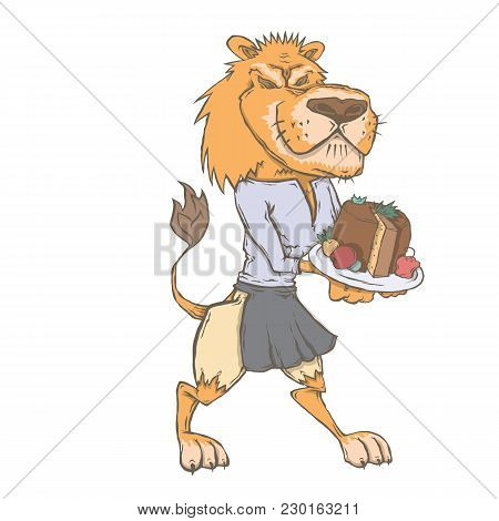 Vector Isolated Image Of The Character Of The Animal Cook. National Cuisine. Gastronomy. Melton Mowb