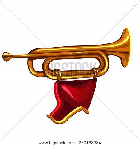 Pioneer Trumpet With Pennant. Vector Isolated Illustration.