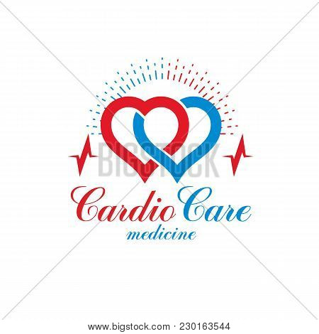 Cardio Vector Abstract Logo Made With Red Heart Shape And An Ekg Chart. Cardiology Medical Support C
