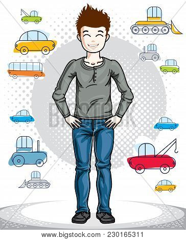 Beautiful Happy Young Teenager Boy Posing In Stylish Casual Clothes. Vector Attractive Kid Illustrat