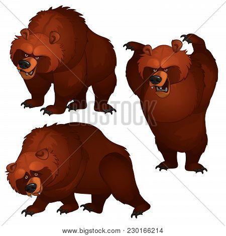 Brown Bear Attacks And Runs Away. Vector Illustration.