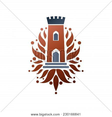 Medieval Fortress Decorative Isolated Vector Illustration. Antique Fortress Logo In Old Style On Iso