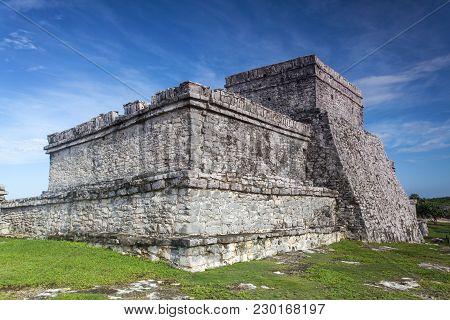 Maya Ruin In Tulum Mexico In Summer