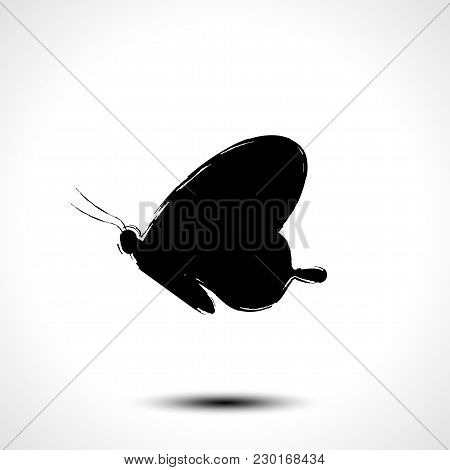 Butterfly Icon. Butterfly Silhouette Stylized Vector Sketch On White Background