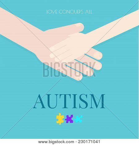 Autism Awareness Poster With Puzzle Pieces On Blue Background. Adult Holding The Hand Of A Child. Lo