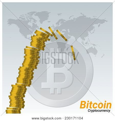 Virtual Cryptocurrency Crisis Concept Background With Stack Of Bitcoins Are Collapsing , Vector , Il