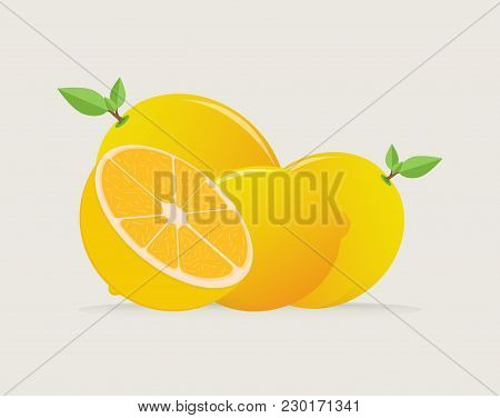 Illustration Of Fresh Lemon Slices, Slices Of Lemon And Lemon On White Background, Orange Collection