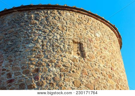 Fortification Tower Wall In Pienza Italian Medieval Village, Unesco World Heritage Site, Siena Provi