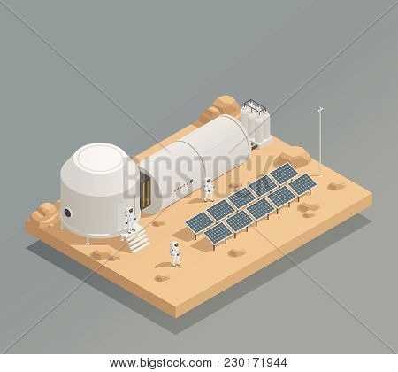 Sun Panels Energy Generator Facility On Another Planet Surface And Astronauts In Spacesuits Isometri