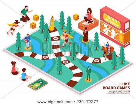 Board Game Isometric Composition With People Including Kids And Adults, Desktop Field, Figures, Card