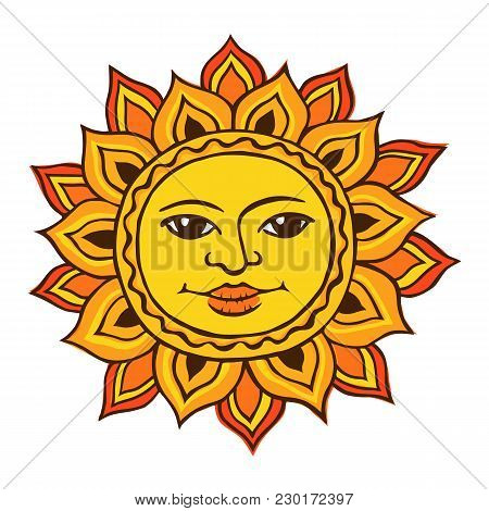 Vector Color Sketch Of A Stylized Sun With A Female Face. Ancient Symbol Of Life. The Pagan Goddess