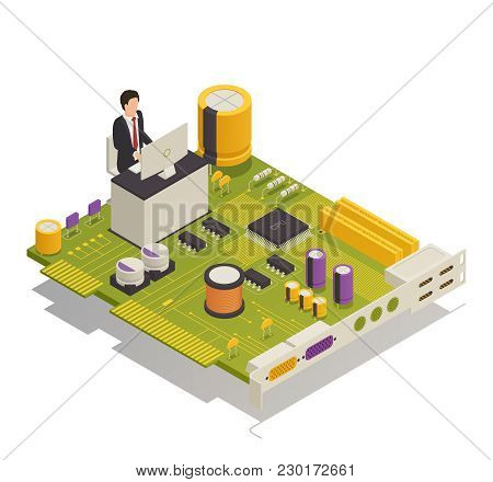 Semiconductor Electronic Components Computer Application Symbolic Isometric Composition With Desktop