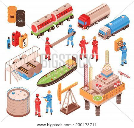 Oil Gas Industry Isometric Icons Set With Offshore Drilling Platform Rail Tank Car Truck Vessel Isol