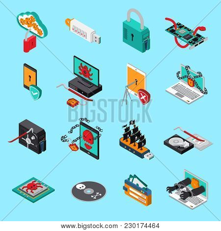 Hardware Protection Icons Set With Computer Symbols  On Blue Background Isometric Isolated Vector Il