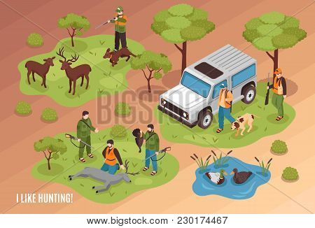 Hunting Scene Isometric Composition With Killed Game Animals Jeep Dogs And Shooter Aiming At Deer Ve