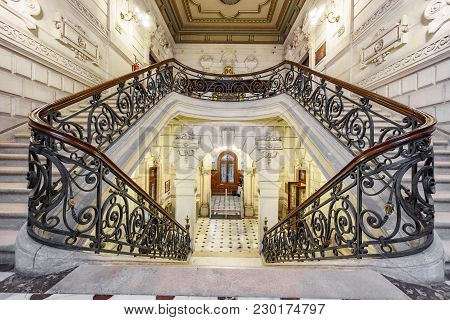 Bilbao, Spain - April 24, 2015: Stairs Inside Foral Palace In Bilbao. The Staircase And Hall Is A Am