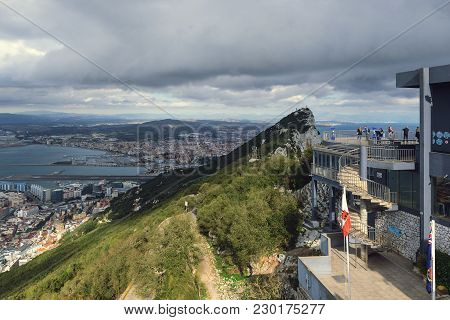 Gibraltar - December 2017: Tourists Are Visiting Viewpoint At Cable Car Upper Station.