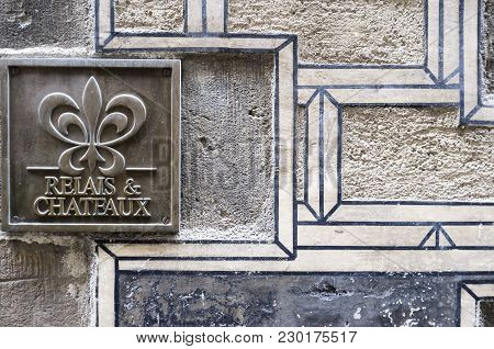 Barcelona,spain-november 2,2015: Relais And Chateaux Sign, Ancient Walls, Hotel Neri,gothic Quarter