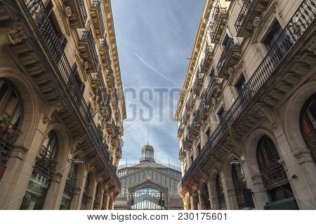 Barcelona,spain-january 29,2015: View Of Mercat Del Born, Market, Cultural Space, Between Buildings,