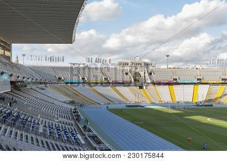 Barcelona,spain-september 18,2016: Interior Of Olympic Stadium Lluis Companys In Parck Montjuic, Bar