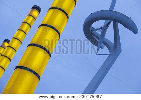 Barcelona,spain-november 21,2016: Communications Tower Or Tower Telefonica, Designed By Santiago Cal