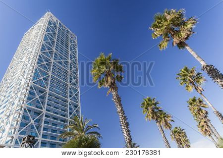 Barcelona,spain-february 3,2012: Architecture, Skycraper, Tower, Hotel Arts ,154 Meters High. Buildi