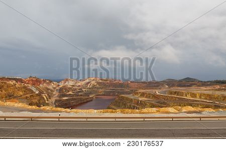 Wide Angle View Of Copper Mine Open Pit In Rio Tinto, Spain