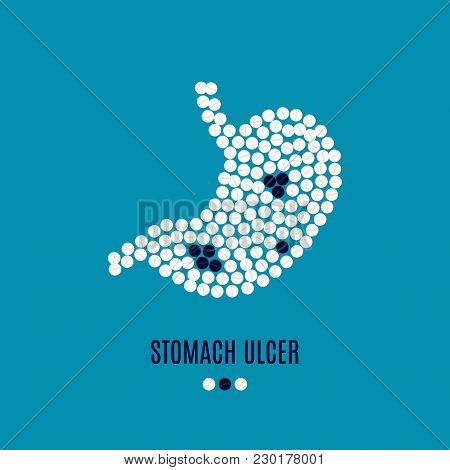 Stomach Ulcer Awareness Vector Poster With Stomach Made Of White And Black Pills On Blue Background.