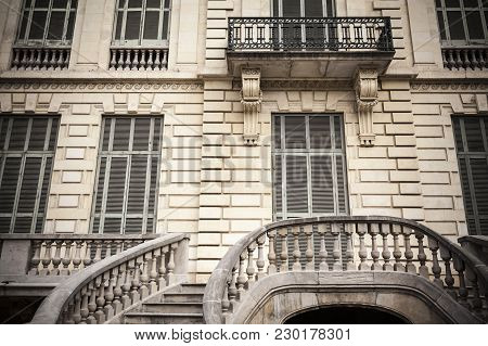 Barcelona,spain-november 13,2015: Detail Classic Building Palace,palau Robert In Passeig De Gracia,b