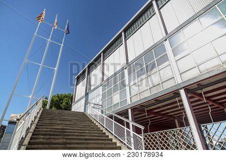 Barcelona,spain-august 28,2015: Pavilion Of Spanish Republica, Rebuilt In 1992, Original Building By