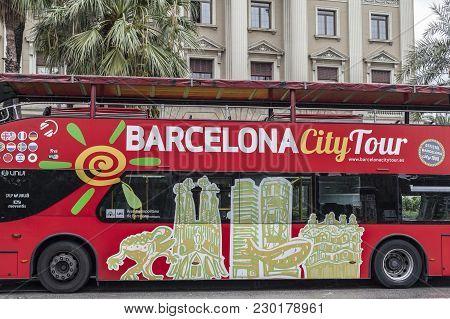 Barcelona,spain-september 2,2015: Touristic Bus, Barcelona City Tour,barcelona.
